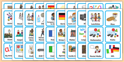 A visual timetable shows a child what is happening during a session at school or nursery and at home, using pictures, symbols or photos.  Small photos or pictures are placed on the timetable using Velcro, to represent the activities for a session. A 'finished' box is used, and can be stuck at the bottom of the timetable.  The timetable can be used with individual children, small groups, or larger classes.